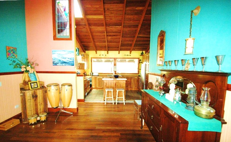Entrace to kitchen at Sanctuary Bush to Beach House. A pet friendly accommodation beach house with dog friendly beaches for your holiday at Nambucca Heads near Valla Beach, Mid North Coast NSW