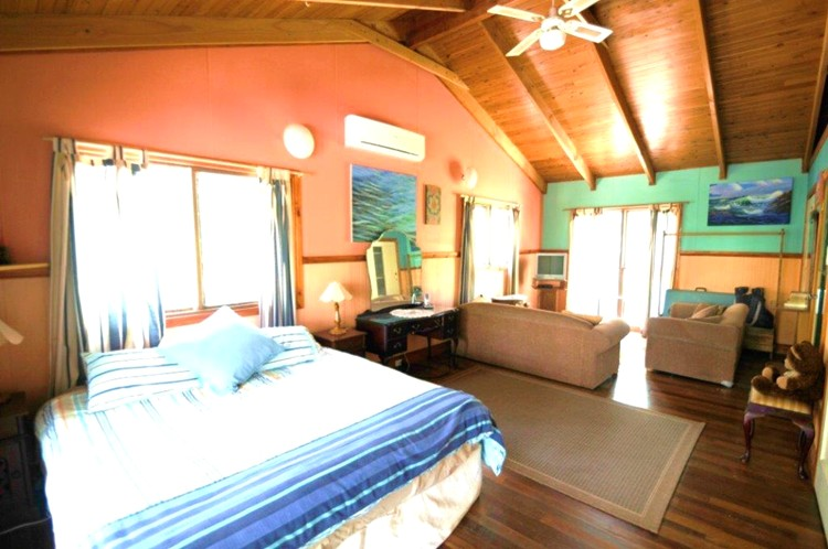 Main bedroom at Sanctuary Bush to Beach House. A pet friendly accommodation beach house with dog friendly beaches for your holiday at Nambucca Heads near Valla Beach, Mid North Coast NSW